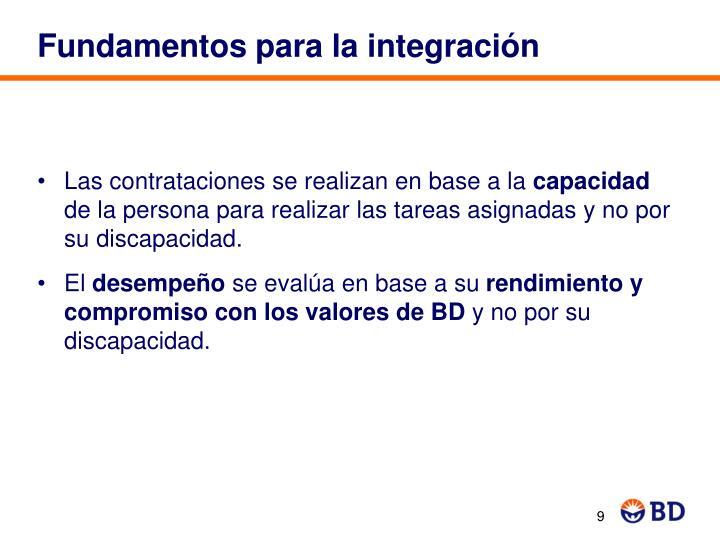 Fundamentos para la integración