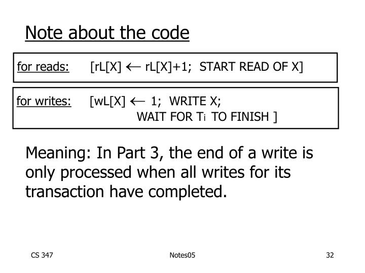 Note about the code