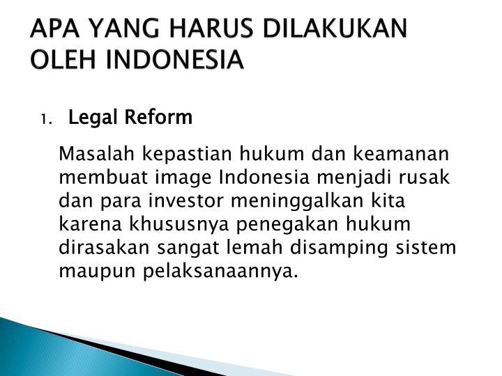 APA YANG HARUS DILAKUKAN OLEH INDONESIA