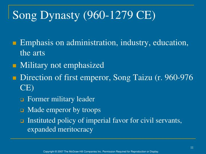 Song Dynasty (960-1279 CE)