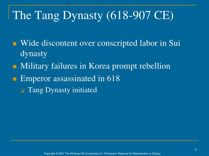 The Tang Dynasty (618-907 CE)