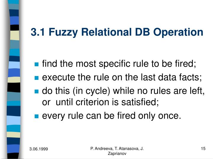3.1 Fuzzy Relational DB Operation