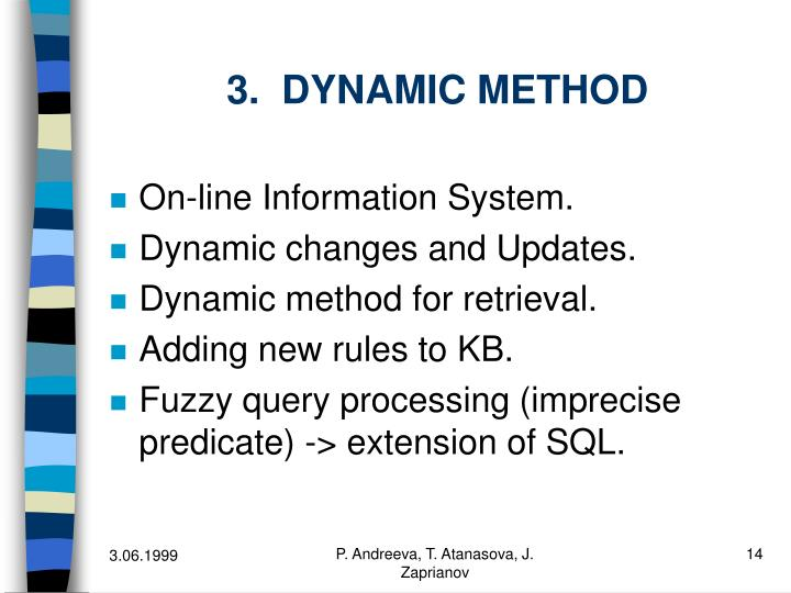 3.  DYNAMIC METHOD