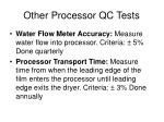 other processor qc tests