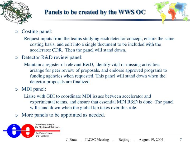 Panels to be created by the WWS OC