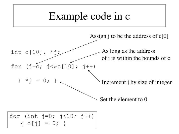 Example code in c