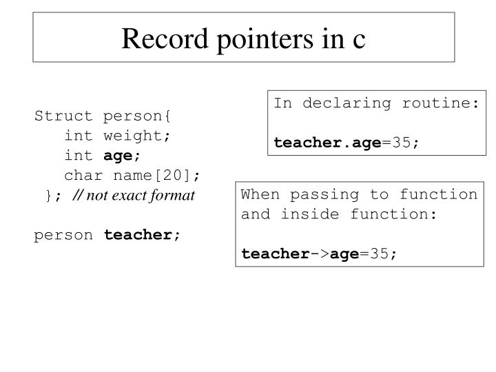 Record pointers in c