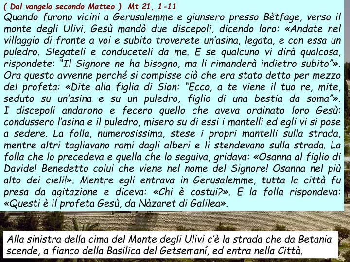 ( Dal vangelo secondo Matteo )  Mt 21, 1-11