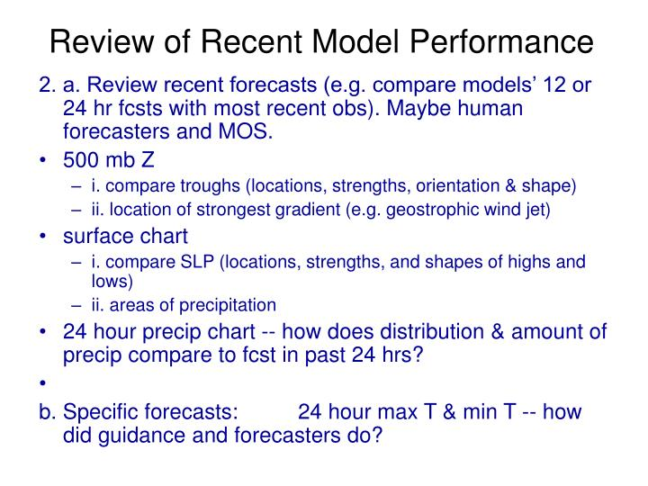 Review of Recent Model Performance