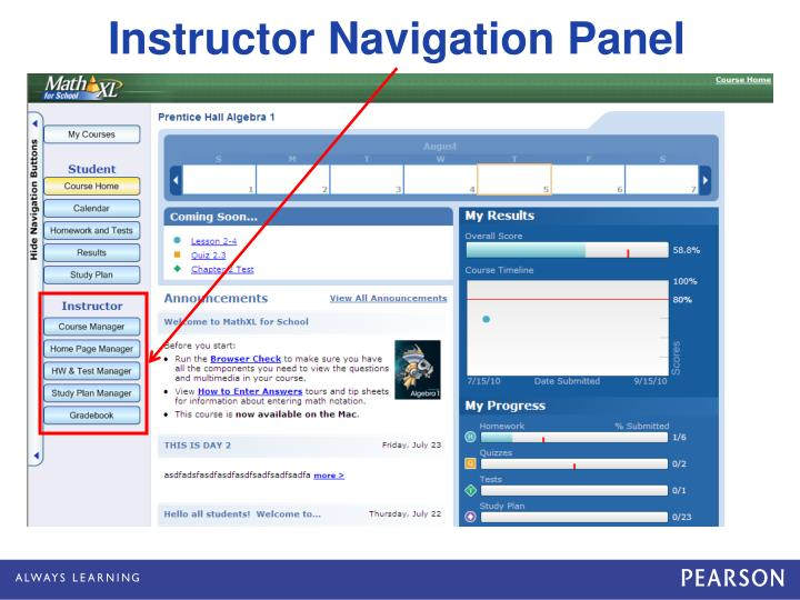 Instructor Navigation Panel