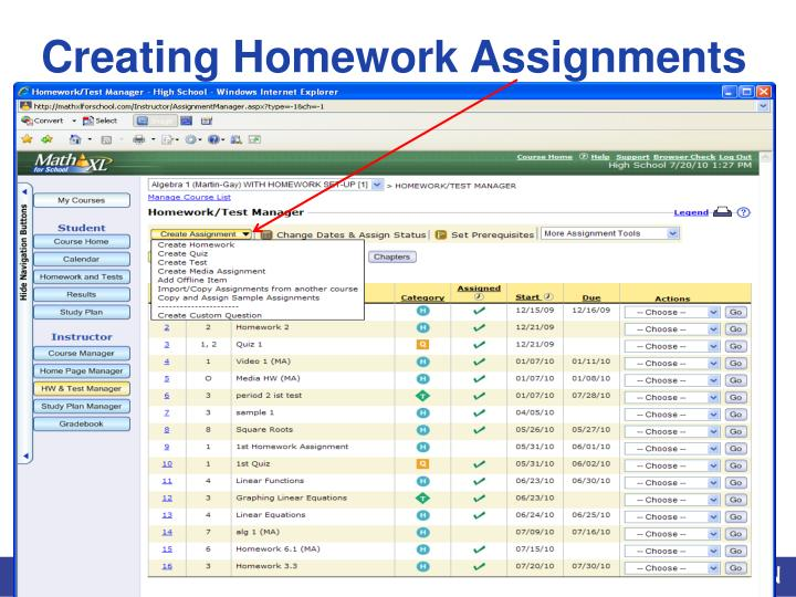 Creating Homework Assignments