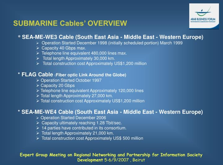 SUBMARINE Cables' OVERVIEW