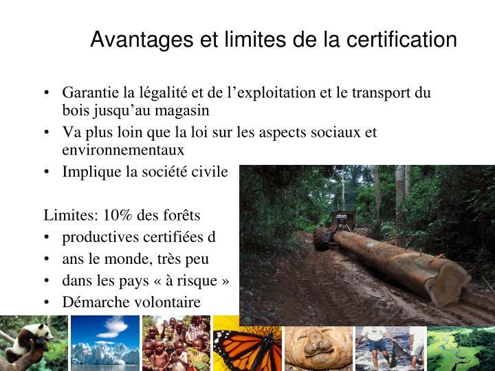 Avantages et limites de la certification