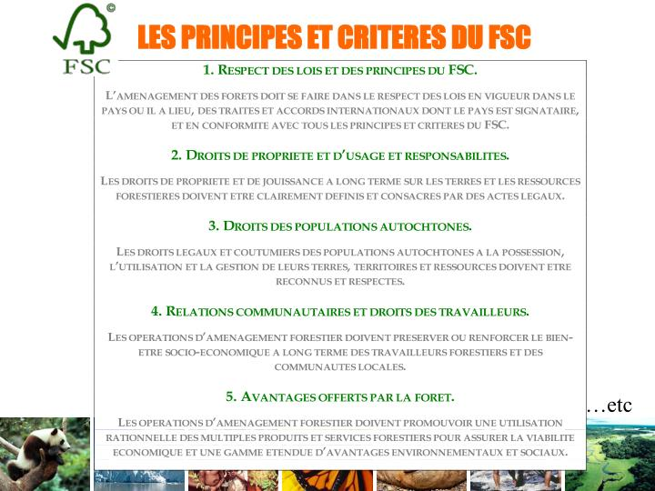 LES PRINCIPES ET CRITERES DU FSC