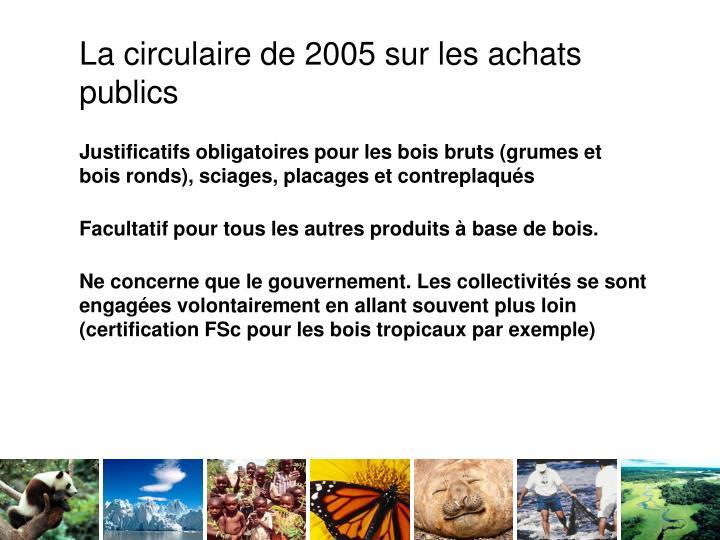 La circulaire de 2005 sur les achats publics