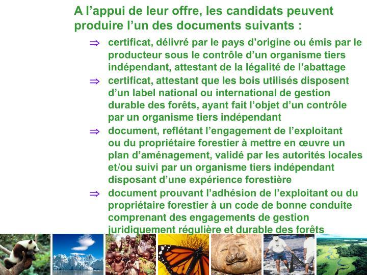 A l'appui de leur offre, les candidats peuvent produire l'un des documents suivants :