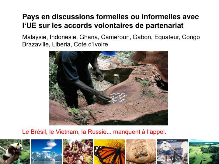 Pays en discussions formelles ou informelles avec l'UE sur les accords volontaires de partenariat
