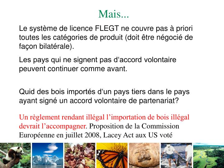 Le système de licence FLEGT ne couvre pas à priori toutes les catégories de produit (doit être négocié de façon bilatérale).