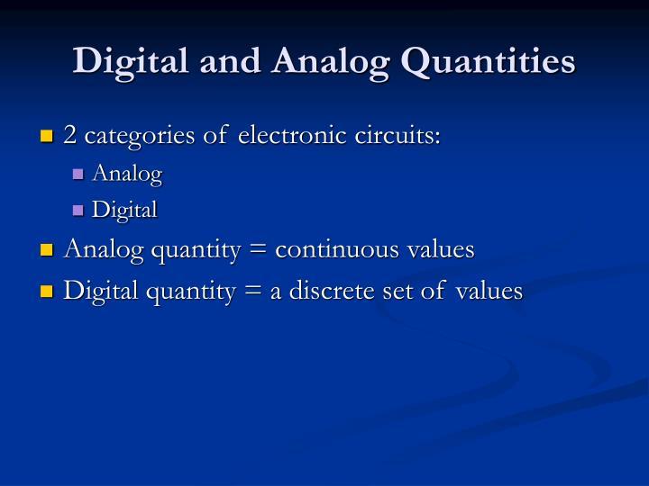 Digital and Analog Quantities