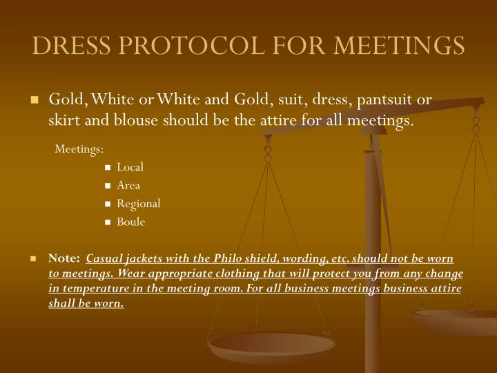 DRESS PROTOCOL FOR MEETINGS