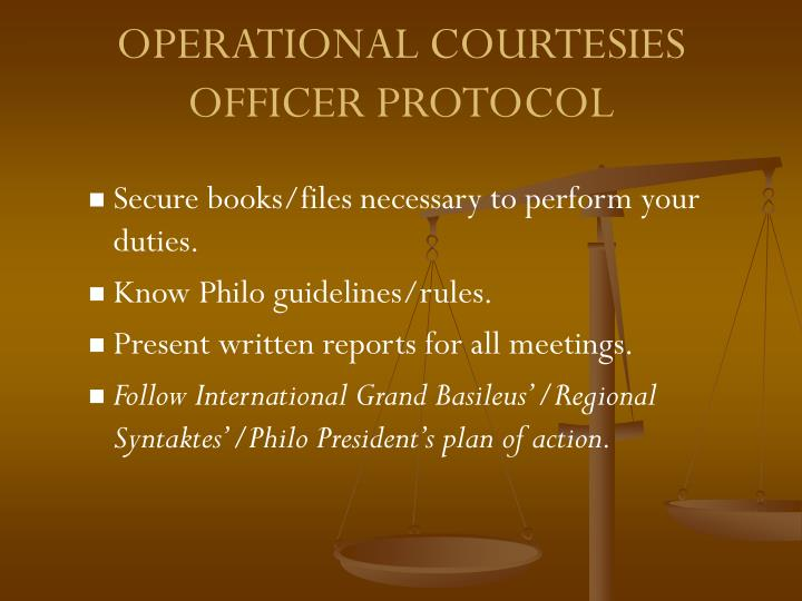 OPERATIONAL COURTESIES
