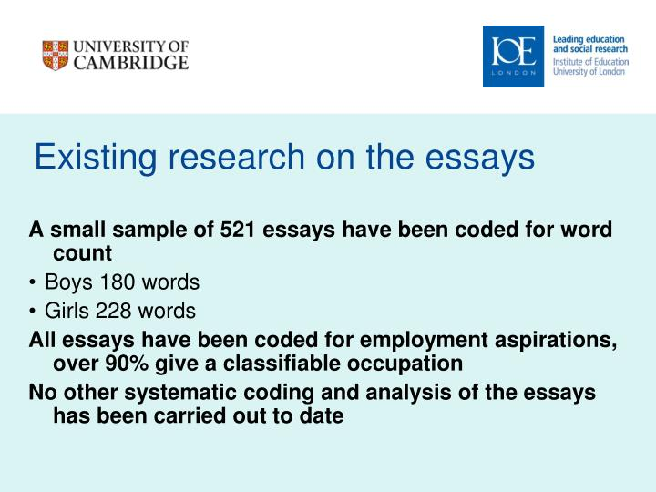 Existing research on the essays