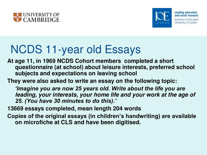 NCDS 11-year old Essays