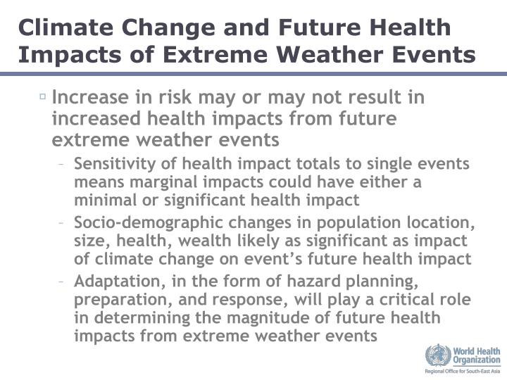 Climate Change and Future Health Impacts of Extreme Weather Events