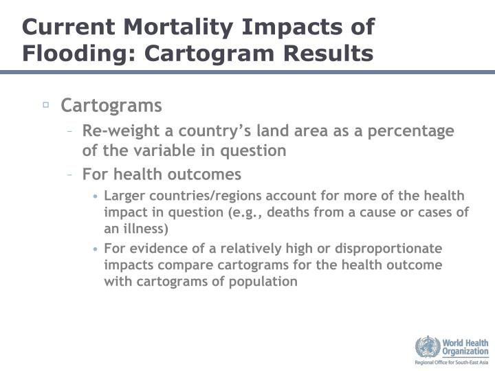 Current Mortality Impacts of Flooding: Cartogram Results