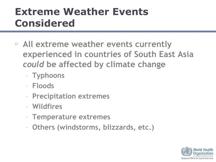 Extreme weather events considered