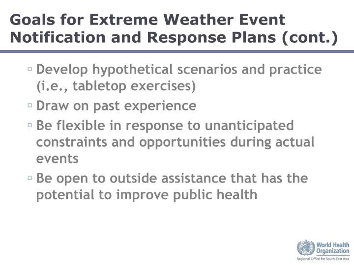 Goals for Extreme Weather Event Notification and Response Plans (cont.)