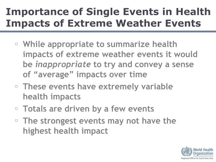 Importance of Single Events in Health Impacts of Extreme Weather Events