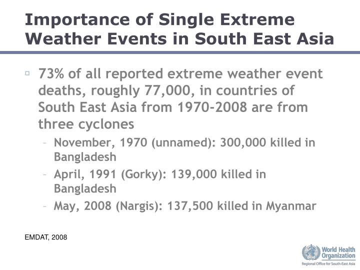 Importance of Single Extreme Weather Events in South East Asia