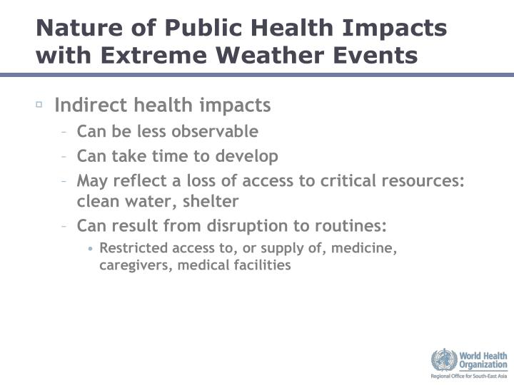 Nature of Public Health Impacts with Extreme Weather Events