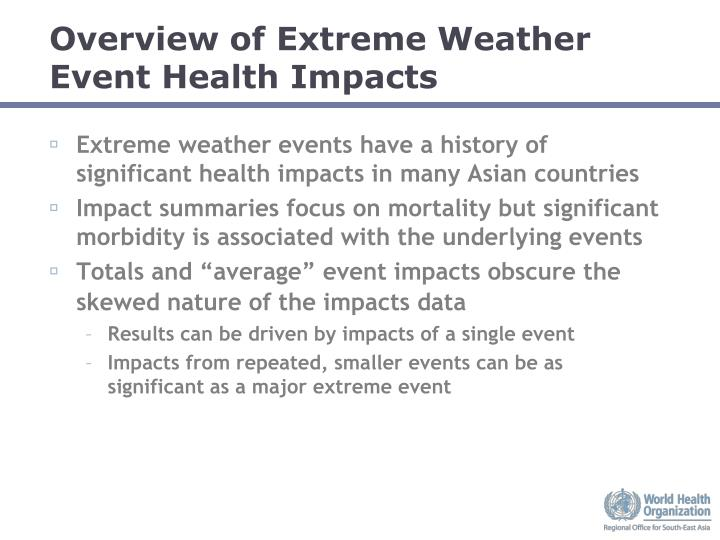 Overview of Extreme Weather Event Health Impacts