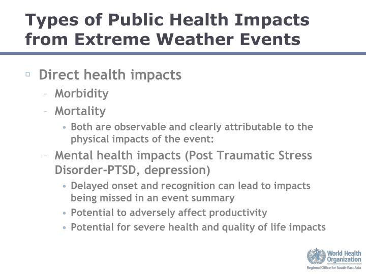 Types of Public Health Impacts from Extreme Weather Events