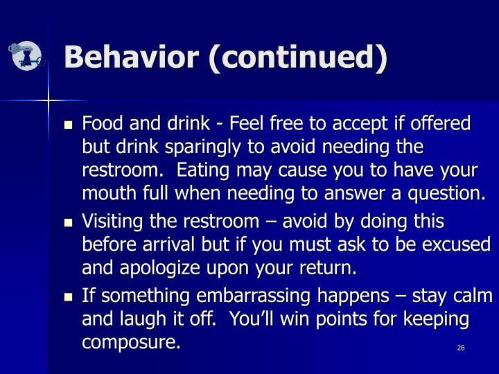 Behavior (continued)