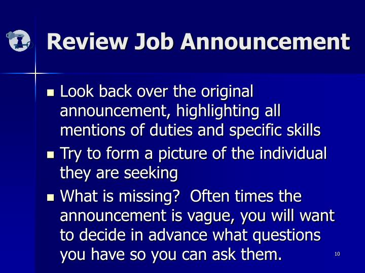 Review Job Announcement