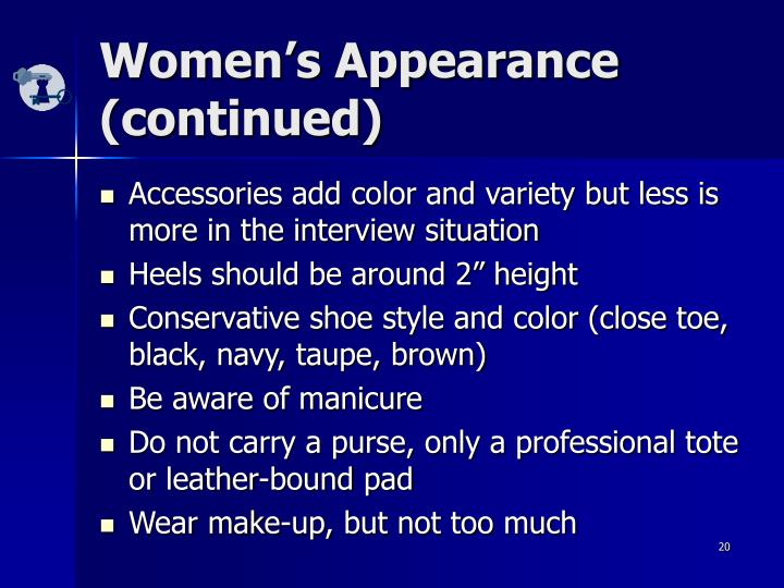Women's Appearance (continued)
