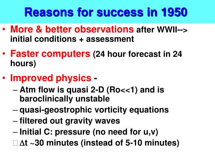 Reasons for success in 1950