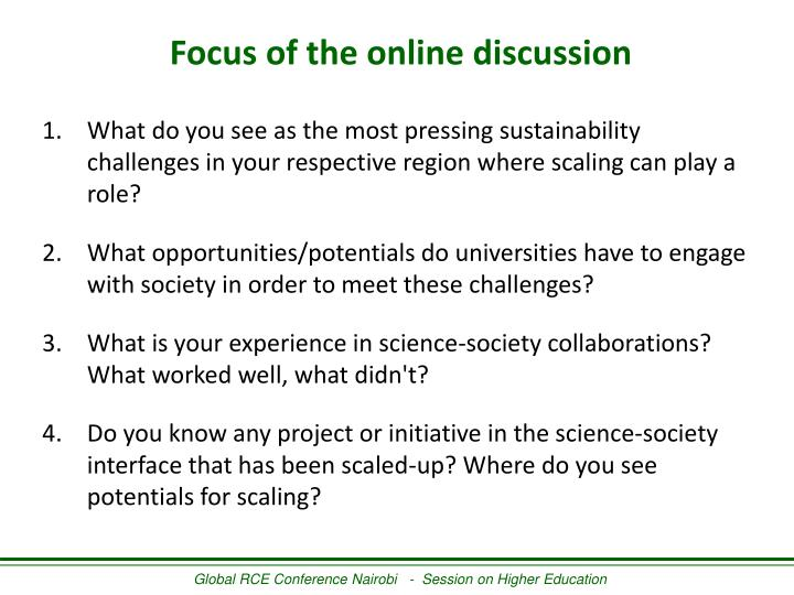 Focus of the online discussion