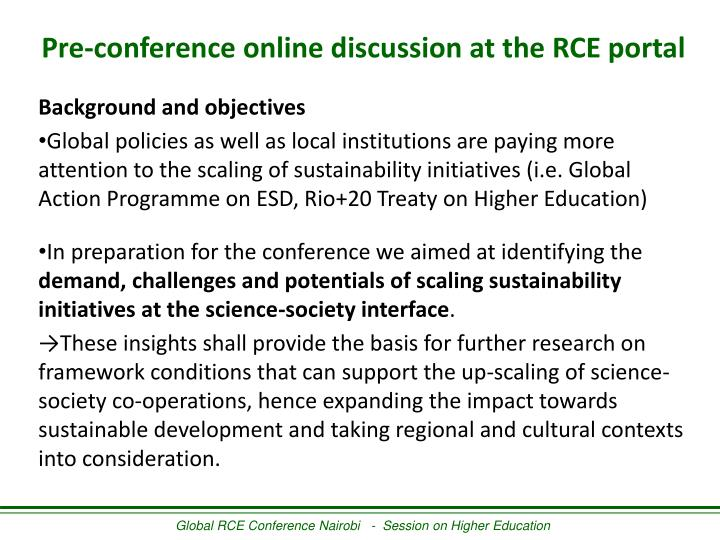 Pre-conference online discussion at the RCE portal
