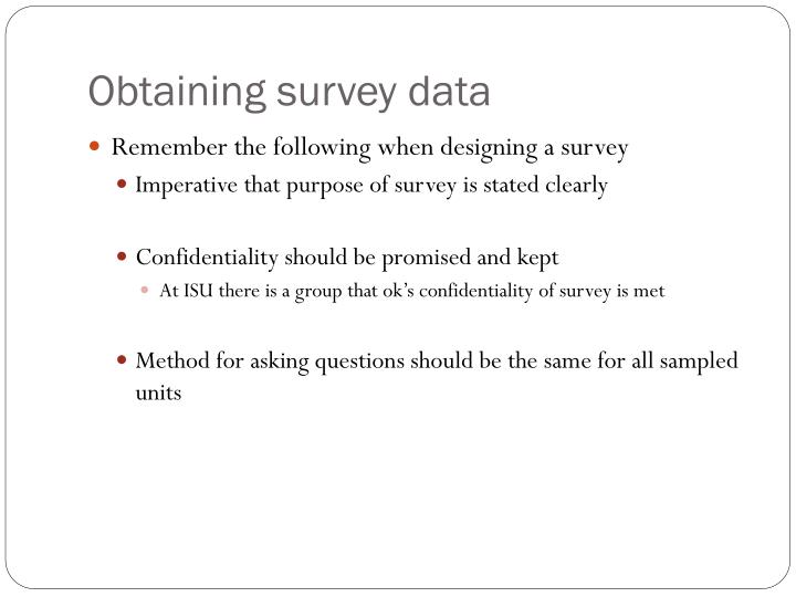 Obtaining survey data