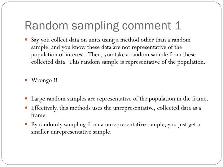 Random sampling comment 1