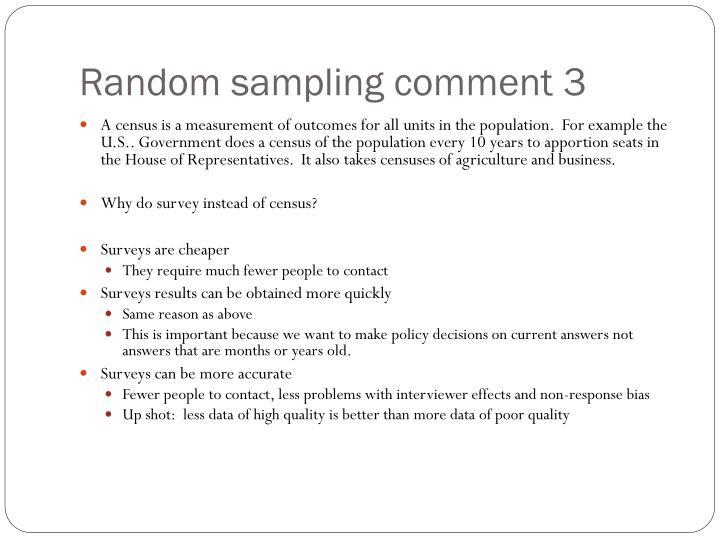 Random sampling comment 3