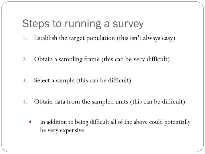 Steps to running a survey