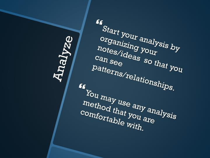 Start your analysis by organizing your notes/ideas  so that you can see patterns/relationships.