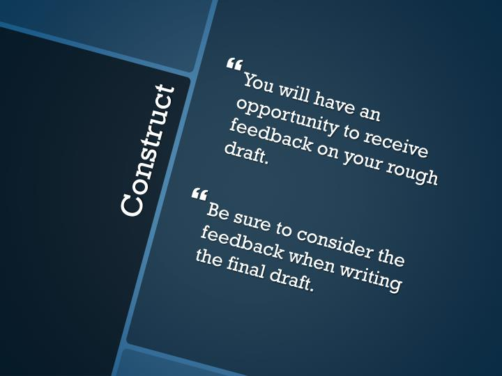 You will have an opportunity to receive feedback on your rough draft.