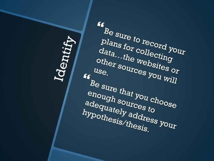 Be sure to record your plans for collecting data…the websites or other sources you will use.