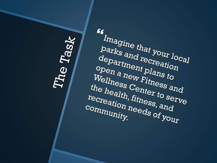Imagine that your local parks and recreation department plans to open a new Fitness and Wellness Center to serve the health, fitness, and recreation needs of your community.